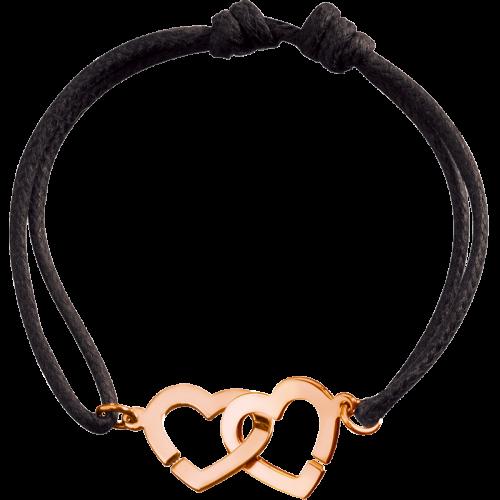 eb0539e5007 Bracelet sur cordon Double Cœurs R13 - or rose - dinh van