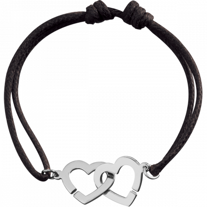 Bracelet sur cordon Double Cœurs R13