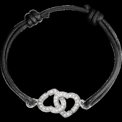 Bracelet sur cordon Double Cœurs R12
